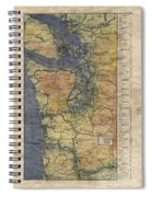 Vintage Auto Map Western Washington Olympic Peninsula Hand Painted Spiral Notebook