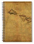 Vintage Map Of Hawaii 1837 Spiral Notebook