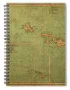Vintage Map Of Hawaii Spiral Notebook