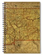 Vintage Map Of Montana Spiral Notebook