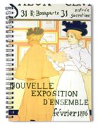 Vintage Poster Advertising A Exhibition At The Salon Des Cent, 1896  Spiral Notebook