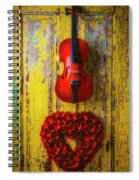 Violin And Heart Wreath Spiral Notebook