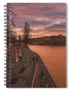 Walking Along The Seine At Sunset Spiral Notebook