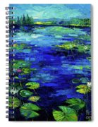 Water Lilies Story Impressionistic Impasto Palette Knife Oil Painting Mona Edulesco Spiral Notebook