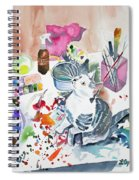 Watercolor - Kitten On My Painting Table Spiral Notebook
