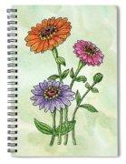 Watercolor Orange Pink Purple Zinnia Flowers Spiral Notebook