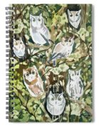 Watercolor - Screech Owl And Forest Design Spiral Notebook