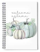 Welcome Autumn Blue Pumpkin Spiral Notebook