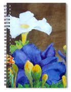 White And Purple Petunia And Marigolds Spiral Notebook