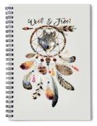 Wild And Free Wolf Spirit Dreamcatcher Spiral Notebook