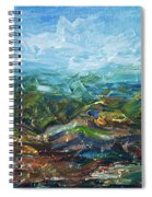 Windy Day In The Grassland. Original Oil Painting Impressionist Landscape. Spiral Notebook