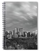 Windy Evening Calgary Downtown Bw Spiral Notebook