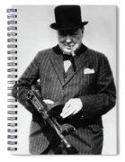 Winston Churchill With Tommy Gun Spiral Notebook