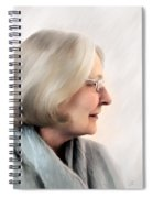 Woman In Grey Spiral Notebook