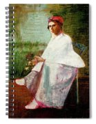 Woman In White Spiral Notebook