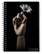 Wooden Hand Holding Flower Spiral Notebook
