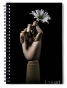 Wooden Hand Holding Flower Spiral Notebook