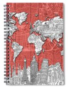 World Map Landmarks Skyline 3 Spiral Notebook