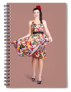 Young Beautiful Dancer Posing On Tan Background Spiral Notebook