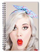 Young Beautiful Woman Holding A Bottle Cap In A Mouth Spiral Notebook