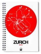 Zurich Red Subway Map Spiral Notebook
