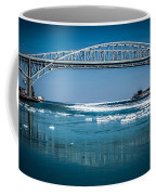 Blue Water Bridges With Reflection And Ice Flow Coffee Mug