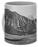 Colorado Rocky Mountains Flatirons With Snow Covered Twin Peaks Coffee Mug