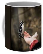 Downy Woodpecker In Hand Coffee Mug