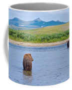 Grizzly Bears Looking At Each Other In Moraine River In Katmai Np-ak  Coffee Mug