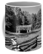 Historical Cantilever Barn At Cades Cove Tennessee In Black And White Coffee Mug by Kathy Clark