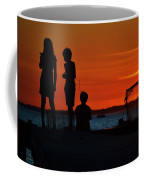 Perfect Ending - 3 Friends On A Pier As The Hot Summer Sun Sets On The Indian River Bay Coffee Mug