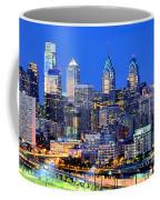 Philadelphia Skyline At Night Evening Panorama Coffee Mug