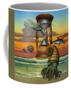 Prehistoric Animals - Beginning Of Time Beach Sunrise - Hourglass - Sea Creatures Square Format Coffee Mug
