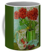 Red Geranium With The Strawberry Jug And Cherries Coffee Mug