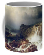 Rocky Landscape With Waterfall In Smaland Coffee Mug by Marcus Larson