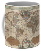 1691 Sanson Map Of The World On Hemisphere Projection Coffee Mug