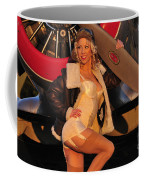1940s Style Aviator Pin-up Girl Posing Coffee Mug