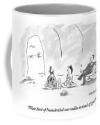 A Caveman And Cavewoman Sit On The Floor Coffee Mug