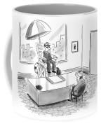 A Man Sits In A Tall Lifeguard Chair Coffee Mug