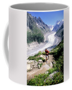 A Man Trail Runs In Chamonix, France Coffee Mug