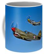 A P-40e Warhawk And A P-51d Mustang Coffee Mug