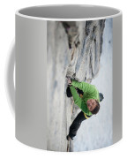 A Woman Climbs The Line 5.9 At Lovers Coffee Mug
