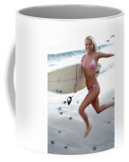 A Young Woman Is Running Coffee Mug