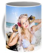 Active Sexy Summer Beach Babe With Skateboard Coffee Mug