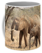 African Elephant Mother And Calf Coffee Mug