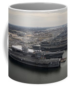 Aircraft Carriers In Port At Naval Coffee Mug by Stocktrek Images