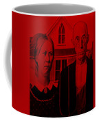 American Gothic In Red Coffee Mug