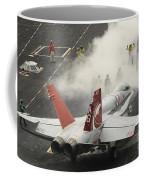 An Fa-18c Hornet Prepares To Launch Coffee Mug