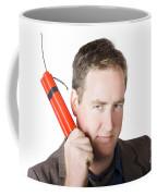 Angry Business Man Holding Stick Of Dynamite Coffee Mug