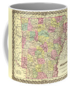 Antique Map Of Arkansas 1855 Coffee Mug